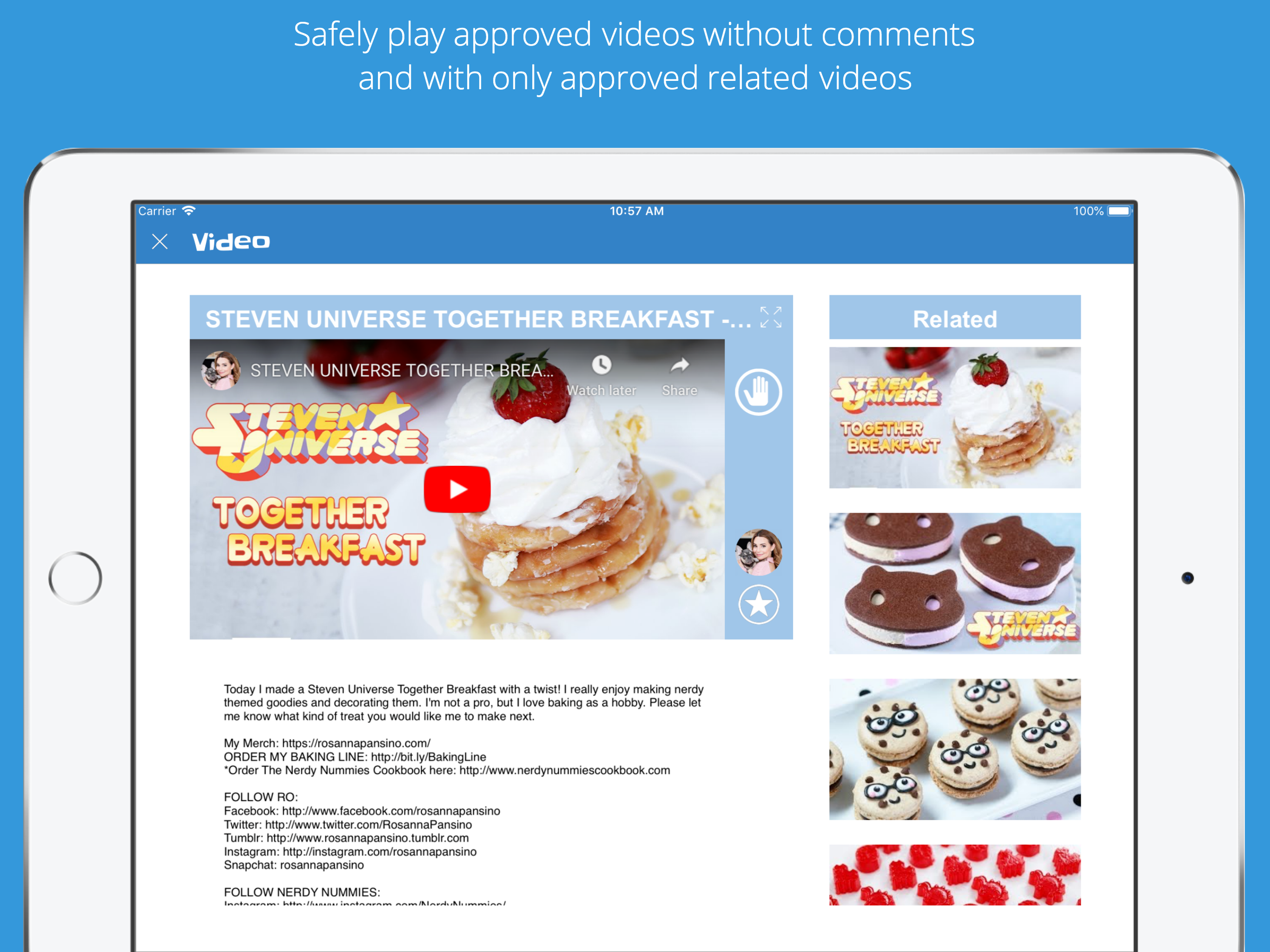 kid's safe video player with no comments and safe related youtube videos